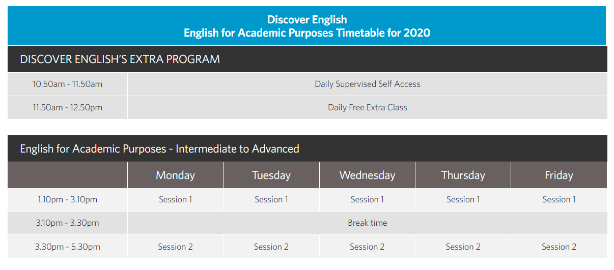 Discover EAP Timetable