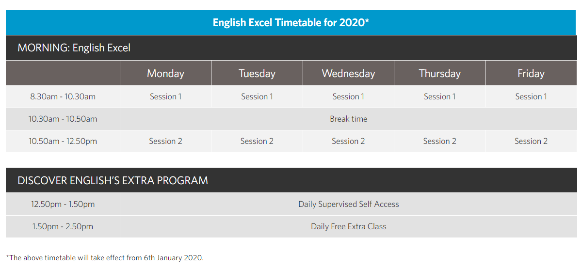 Discover English Excel Timetable