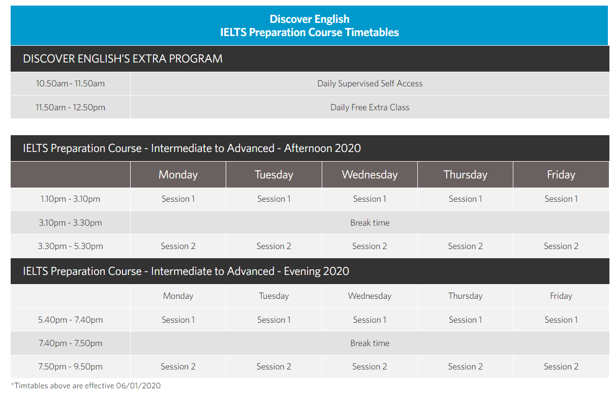 Discover IELTS Timetable